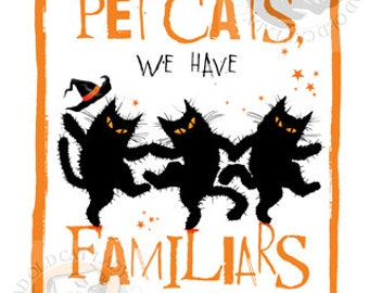 Black cat Witch Familiar greetings card