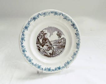 French Antique Longwy Black Transferware Plate fishes and Fishermen 8 c1880 (v836)
