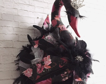 Black Swan Faux Taxidermy | swan | wall art | ballet| swan lake |roses | crown | nursery art | fabric taxidermy | ballerina