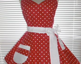 PLUS SIZE  Sweetheart Retro Diner Apron White Dots On Red White Accents Circular Flirty Skirt Trimmed with Ruffled Ribbon