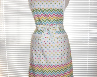 Cooking Apron, Chefs Apron, Kitchen Apron, Pretty Multicolor Chevron Paired With Candy Dots, Adjustable Strap, Two Deep Pockets