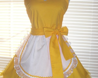 French Maid Retro Apron Pin-up Sunny Yellow Accented with Sun Yellow Ruffles Flirty Skirt Sweetheart Neckline