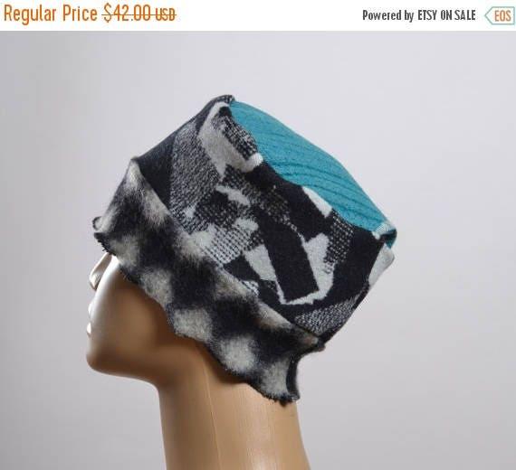 SUMMER SALE Women's Wool Hat - Repurposed Wool Hat - Blanket Hat - Winter Hats - Warm Hats - Women's Hats