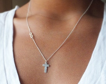 ON SALE Personalized Cross Necklace - Infinity Necklace - Gold Filled or Sterling Cross and Infinity Necklace - Religious Jewelry