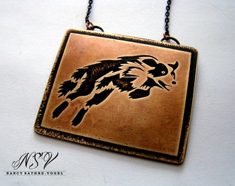 Border collie sheep dog pendant etched brass