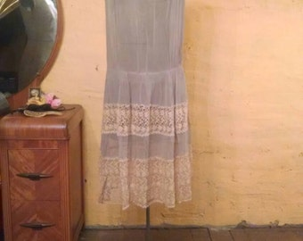 Lovely Silk and Lace 20s Dress Pale Evening Blue XS/S