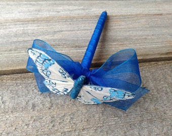 Blue and White Butterfly Wedding Guest Book PEN Quinceanera