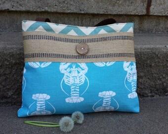 Handbag Purse Tote Bag Shoulder Tote Diaper Bag in Blue Lobster and Chevron