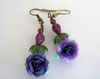 Sugar Skulls Day of the Dead  Purple Flower-Copper Earrings