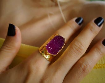 Ruby Red Stunning Druzy Agate Statement Cigar Rinng