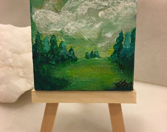 """Original Handmade Minnesota Art- Green and White Landscape of Pine Trees in a Field on a Mini Canvas with Easel, 2.5"""" Square"""