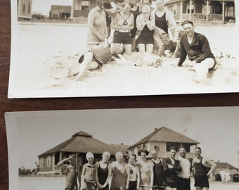 Vintage Black and White Swim Suit Beach Swimmer Beach Photo