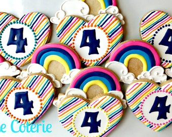 Rainbow Hearts Decorated Cookies Birthday Party Favors One Dozen