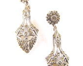 Vintage Earrings Sterling Marcasite Post for Pierced Ears French Hallmarks Stamped 925/950