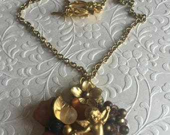 Angel And Floral Necklace, Vintage Jewelry Assemblage