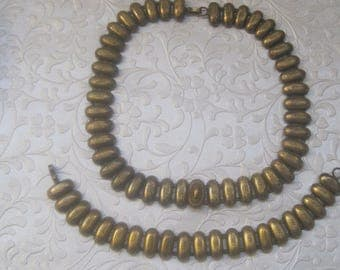 Antique Gold Bookchain Necklace And Matching Bracelet, Vintage Jewelry Set,