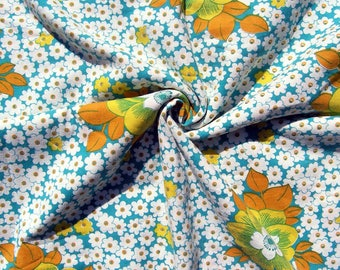 Vintage Single Duvet Cover, Teal Green Yellow White Floral Twin Duvet, Mid Century Cotton Bedding, Funky 1960s 1970s Fabric Flowers, Duvet