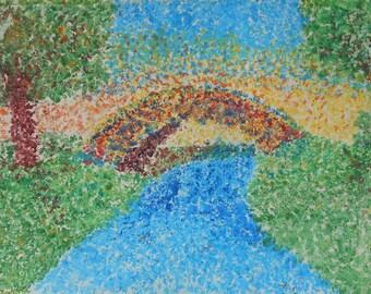 vintage watercolor gouache bridge over river scene