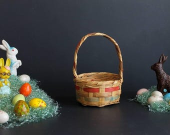 Vintage Easter Basket Round Small Wicker Pink And Green Stripe Retro Easter
