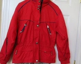 Women's Ski jacket, Snowboarding jacket, lined coat Size 8 RED insulated coat