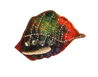 ID 0331 Tie Died Seashell Patch Ocean Rastafarian Embroidered Iron On Applique