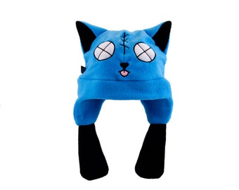 Pawstar ZOMBIE KITTY HAT cat fleece cosplay anime goth cyber furry ski ear flap warm halloween stitches Gir Dead Lime Green Blue 1245