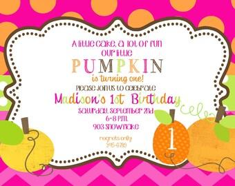 Pumpkin Birthday Party invitations printable or digital file- little pumpkin-1st birthday- first birhday- any age