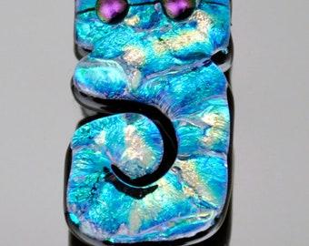 Dichroic Cabochon, Abstract Cabochon, Dichroic Bead, Dichroic Pendant, Handmade Mosaic Tile