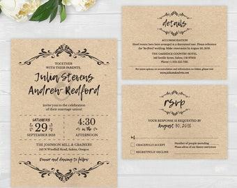 Rustic Flourish Wedding Invitations Vintage Pdf Elegant Template Digital Download Printable Editable Invite Details RSVP Cards 30006