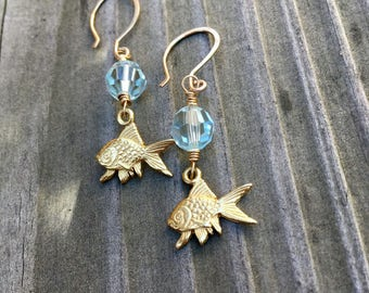 Koi earrings 14 karat gold fill French hooks with Swarovski crystal and goldfish charms