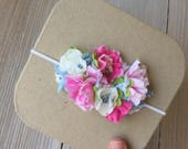 RESERVED Pink, Green, Blue Stretch Headband for Baby Girl - 6 - 12 months - Ready to Ship