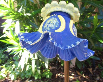 Outside Decor Hand Painted Glass Flower, Garden Art, Blue & Yellow, outdoor garden decoration with repurposed glass, lawn ornament, yard art