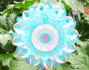 Elegant  Glass Flower - Outdoor Garden Decor - Hand Painted Glass Flower - Garden Sculpture - Yard Art - Lawn Ornament