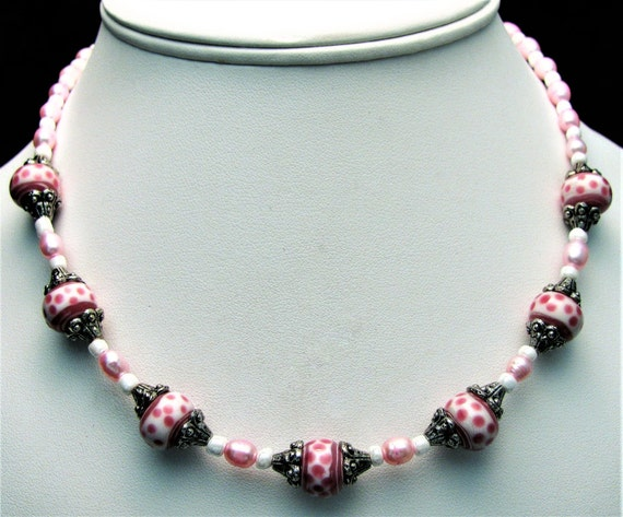 Pink and White Polka Dot Lampwork Beaded Necklace -Item 194
