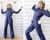 Vintage navy blue one piece overalls padded jacket pants belted ski snowboard winter sports S M