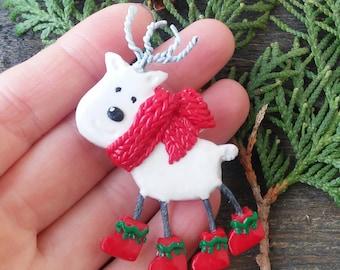 Reindeer Pin Christmas brooch Rudolph Santas deer Cute gift Christmas jewelry Christmas Kawaii Brooch