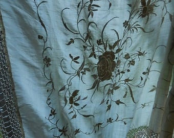 Vintage embroidered Chinese fine silk shawl wrap scarf hand knotted silk tassel fringe floral cream on cream 1910's-20's flapper piano