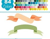 60% SALE Digital Banners, Simple Colorful Banners, Rainbow Banners Clip Art, Huge Clipart Pack - Vector Banners - Instant Download