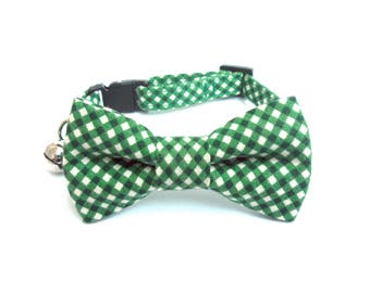 Cat / Small Dog Bow Tie Collar, Forest Green Gingham
