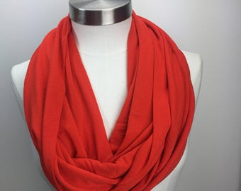 Orange knit infinity scarf