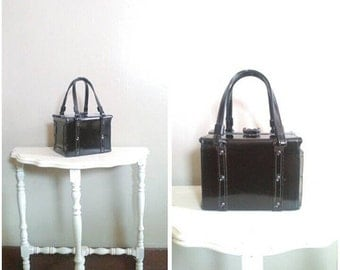 25% OFF/ The Strange Door 1950s Black Patent Leather Square/Cube/Box Handbag with Nail Head Detail