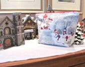 Zipper knitting bag, Wide mouth wedge project bag, Crochet bag - Snowmen in Winter, Socks or Shawl sizes