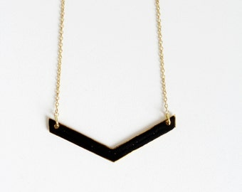 Black Chevron Necklace.              Reversible Minimal Geometric Necklace.     Minimal Modern Jewelry with a Charitable Donation