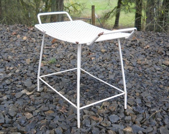 Perforated White Iron Metal Vanity Bench Mid Century Danish Modern Industrial Vintage 1960s Patio Cafe Stool Country Farmhouse Plant Stand