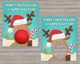 Rudolph Card for EOS lip balm | INSTANT DOWNLOAD
