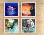 "Stone or Ceramic Adventure Time ""Moments Time"" Coaster set - Vintage Retro Cartoon Finn and Jake Bmo Princess Bubble Gum"