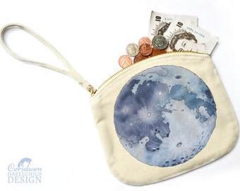 Moon Canvas Zip Purse, Makeup Bag, Coin Purse, Small Accessory Pouch