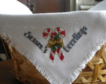 SEASONS GREETINGS  Bread Basket Cloth Cover 18x18 Candy Canes Holiday Season Christmas Decor Linens Xmas Completed Cross Stitch Table