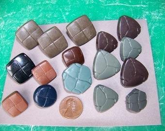 Lot of 16 Vintage Plastic Faux Leather Buttons Shapes
