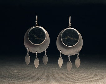 Basalt Lunar Disc Earrings